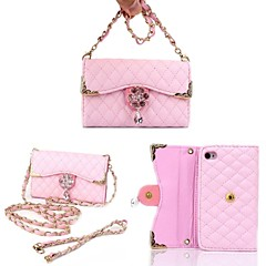 Flowers And Diamond Alloy Necklace Wrist Strap Full Body Leather Wallet Pouch Case for iPhone 4/4S (Assorted Colors)