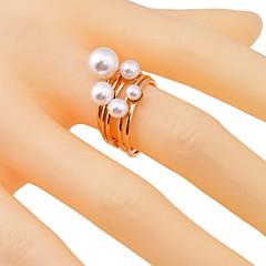 Lureme®Pearl-Studded  Alloy Ring(6 Pcs)