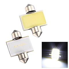 Merdia Festoon 2W COB 6000K 110LM 31MM 12SMD LED Cool White Light for Car License Plate Light / Reading Lamp - (2 PCS)