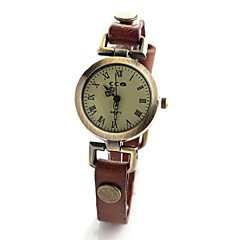 Women's Vintage Style Leather Band Quartz Analog Wrist Watch (Assorted Colors)