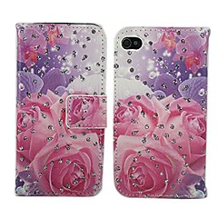Pink Rose Pattern PU Leather Full Body Cover with Stand for iPhone 4/4S