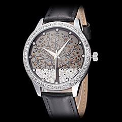 女性の美しい木パターン革バンドクォーツ腕時計(アソートカラー)