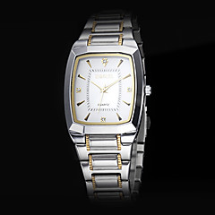 Men's Business Square Dial Steel Band Quartz Wrist Watch (Assorted Colors)