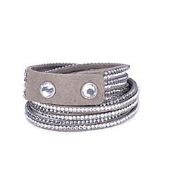 40mm 6 Rows Stone Set Velvet Long Bracelet