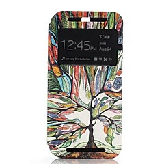 Multicolor Tree One Window Clamshell PU Leather Full Body Case for HTC One M8