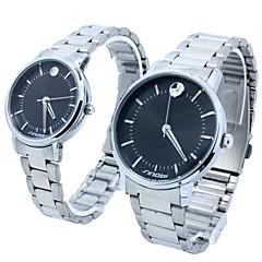 Lichtblick runden Zifferblatt Legierung Band Quarz-analoge Armbanduhr Paares (verschiedene Farben)