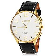 Men's Casual Gold Case Leather Band Quartz Wrist Watch (Assorted Colors)