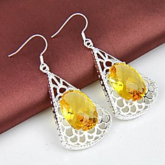 Wholesale Citrine Gemstone Silver Classis Daily Drop Earrings 2pair