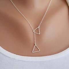 Women's Pendant Necklaces Triangle Shape Alloy Basic Fashion Simple Style Gold Silver Jewelry ForParty Birthday Congratulations Gift