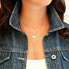 Shixin® Fashion (Circle,I) Pearl Alloy Tiny Pendant Necklace  (Golden) (1 Pc)
