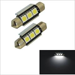 Carking™ 12V 2PCS 5050-3SMD-36MM Car Festoon Interior Light Rome Lamp White Light