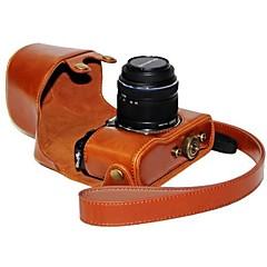 dengpin® Leder Kamera Tasche Schutzhülle mit Schultergurt Öl Haut für Olympus PEN E-P5 14-42 mm Objektiv