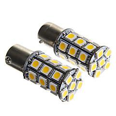 1156 6W 27x5050 SMD quente branco lâmpada para lâmpada de freio do carro (12V CC 2pcs)