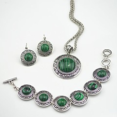Toonykelly Vintage Antique Silver Malachite Stone (Necklace Bracelet Earring) Jewelry Set
