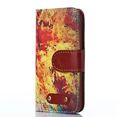 chama padrão de caracteres couro de boi estojo de couro pu para iphone5 retro / 5s