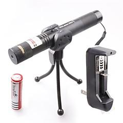 LT-0674 Muti-patterns Full Star Adjustable Focus Burning Lighter Cutting Green Laser Pointer Kits(4mw,532nm,1xCR18650)