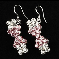 Elegant Alloy Silver Plated with Pink Rhinestone Women's Earrings