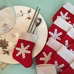 6szt / ustawić uchwyt naczynia sztućce pończochy Boże Narodzenie śniegu dekoracje