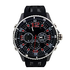Männerrunde Sportuhr PU-Armband Dual-Display-LED-Display japanische Quarzuhr Armbanduhr