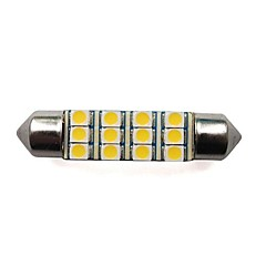 42MM 12x3528 SMD 1.5W 80LM Car Festoon Dome Light for Reading License Plate Lamp White Warm White (2 pieces)