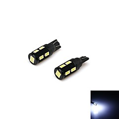 T10 5W 500lm 6000K 10-SMD 5730 LED White Light Car Width Lamp / License Plate Light / Door Lamp (12V/2 PCS)