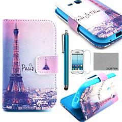 Coco fun® menara Eiffel dalam corak malam pu kes kulit dengan filem dan stylus untuk samsung galaksi ace s7272 3 / s7275