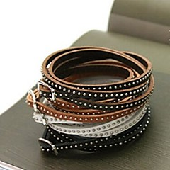 Nit moda wielowarstwowa cienka skóra bransoletka sznurek 90cm (kawa, czarny, brązowy, biały) (1 szt)