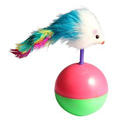 lindo ratón de bola con estilo de la pluma vaso gato mascota juguetes de la novedad