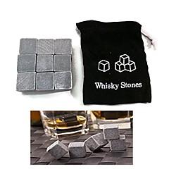 uppsättning 9 whiskey is sten cubic iskalla vin sten med påse, 10 * 10 * 2 cm