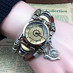 la mode de haute qualité en montres bracelet de mouvement de quartz de cuir pendentif escargot des femmes
