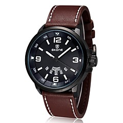 Luxury Brand Leather Watch Men Luminous Watch Date Calender Japan Quartz Movement (Assorted Colors)