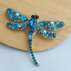 kvinders klassiske legering guld-tone turkis rhinestone krystal Dragonfly broche pin