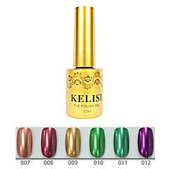 1pcs kelisi profissional gel uv de cor metálica no.7-12 (12ml, cores sortidas)