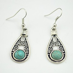 Toonykelly Retro Antique Silver Multicolor Turquoise Stone Dangle Earring(1Pair)