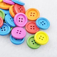 soild cor recados scraft costura botões de madeira diy (10 peças de cor aleatória)