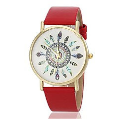 Women's Peacock Pattern PU Band Quartz Wrist Watch (Assorted Colors)