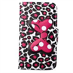 Leopard Print Pattern Bowknot Buckle PU Leather Full Body Case for iPhone 4/4S