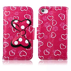 Lovely Heart Bow Pattern PU Leather Full Body Case with Card Slot and Stand for iPhone 4/4S