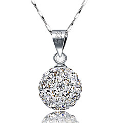 Women's Pendant Necklaces Ball Sterling Silver Rhinestone Basic Fashion Silver Jewelry For Daily Casual Office & Career 1pc