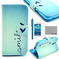 COCO FUN® Cute Heart Pattern PU Leather Case with Screen Protecter and Stylus for Samsung Galaxy S4 Mini i9190