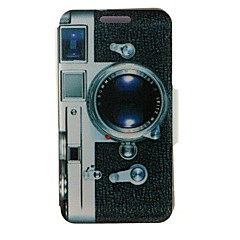 Kinston Camera Pattern PU Leather Full Body Case with Stand for iPhone 4/4S