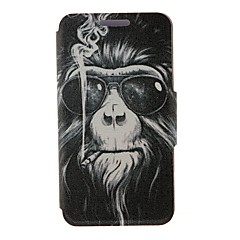 Kinston Smoking Monkey Pattern PU Leather Full Body Case with Stand for iPhone 4/4S