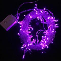 z®zdm 10m 9.6w jul flash 100-ledede lilla lys stribe lys lampe (eu-stik, ac 220v)
