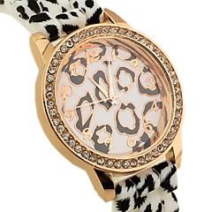 Women's Leopard Pattern Round Dial Rubber Band Quartz Fashion Watch
