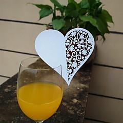 12pcs laserskåret hjerte cup cards navn sted escort kort til vin glas bryllup baby shower julefrokost dekoration