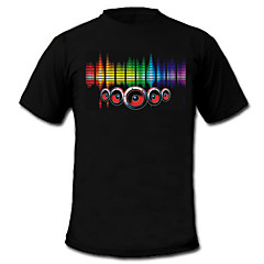 LED-T-shirts Lydaktiverede LED-lys Tekstil S M L XL XXL Stilfuld Sort 2 AAA Batterier