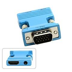 vga erkek için hdmi kadın&pc laptop macbook projektör için ses çıkış adaptörü mavi / altın monitör