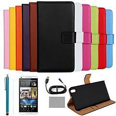 COCO FUN® Luxury Ultra Slim Solid Color Genuine Leather Case with Screen Protector,Cable and Stylus for HTC Desire 816