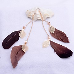 Lureme® Fashion Double Row  Chain  Feather Alloy Drop Earrings