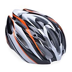 unisex moda ve sökülebilir sunvisor yüksek nefes pc + EPP bisiklet kaskı (19 delikleri) - turuncu + siyah + gümüş